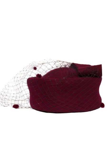 Berry Marvelous Pillbox Hat with netting