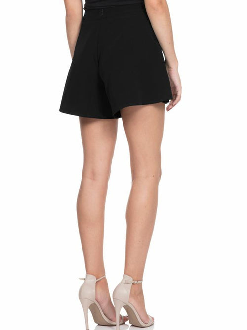 Black High Waisted Flutter Shorts