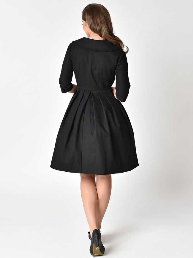 Hedren Coat Dress in black - Unique Vintage (4X only)