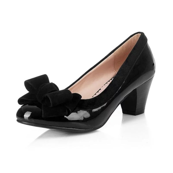 Black Bow Patent Block Heels
