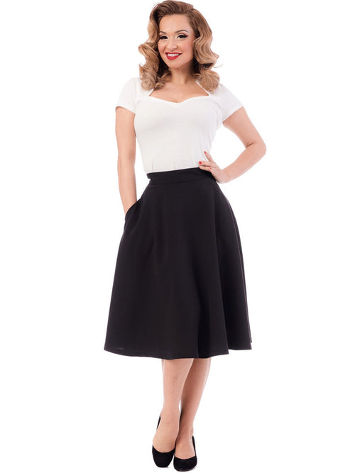 Classic Black Swing Skirt with Pockets