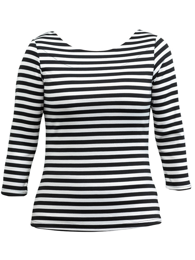 Black and White Striped Boatneck Top with 3/4 sleeve