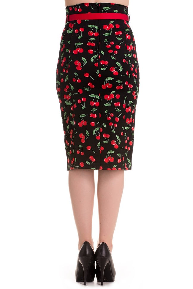 Cherry Pop Pencil Skirt with red piping and belt