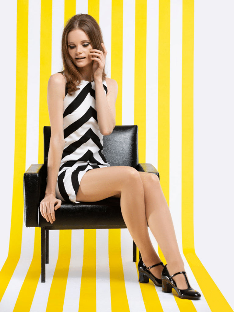 Mod Black/White Chevron A-line shift dress