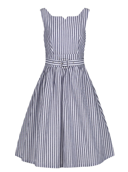 Gray Striped Swing Dress with pockets and matching belt