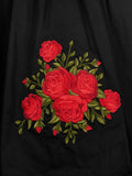 Embroidered Rose Swing Skirt with pockets