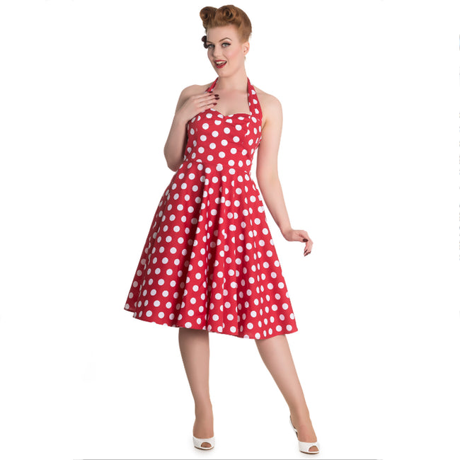 Red Sweetheart Polka Dot Halter Swing Dress