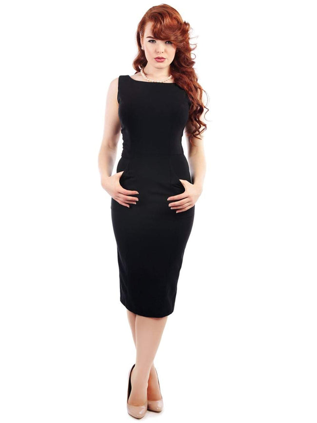 Holly Golightly Little Black Sheath Dress with Pockets