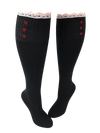 Organic Knee High Boot Socks with lace trim and red hearts