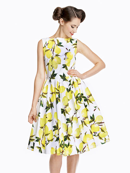 Lemon Print Swing Dress with pockets and matching belt
