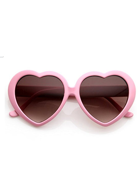 Retro Heart Sunglasses- Light Pink