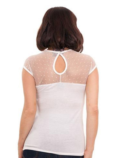 Sheer Dot Illusion Top in Ivory