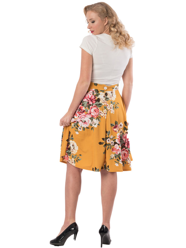 Floral Mustard Swing Skirt with Pockets
