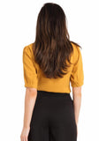 Mustard Blouse with Bow + Buttons