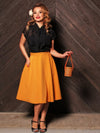 Mustard Swing Skirt with Pockets