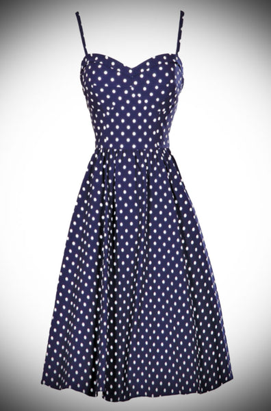 Summertime Swing Dress Navy with White Dots