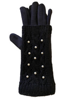 Cozy fleece lined double layer knit gloves with faux pearls