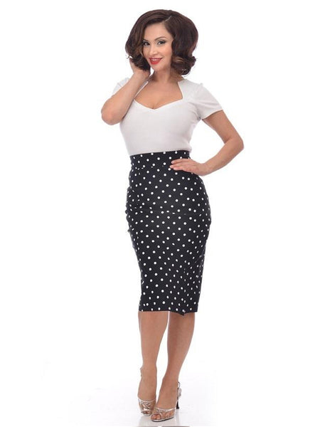 White Polka Dot Long Sleeve 40's Bow Top