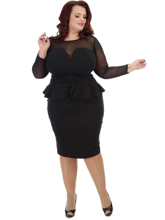 Black Bengaline Peplum Bow Pencil Skirt