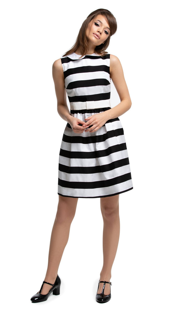 Mod Black/White Striped Flared Dress with Collar