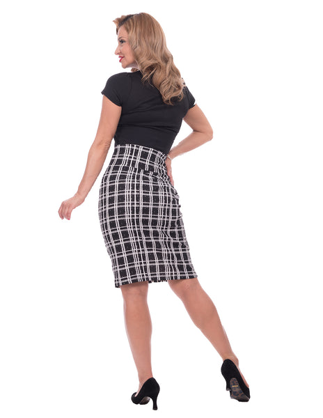 Black and White Plaid Pencil Skirt