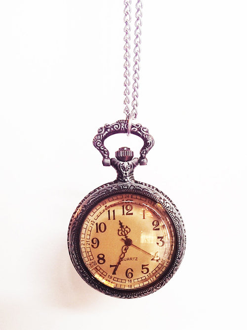 Antiqued Metal Pocketwatch Necklace