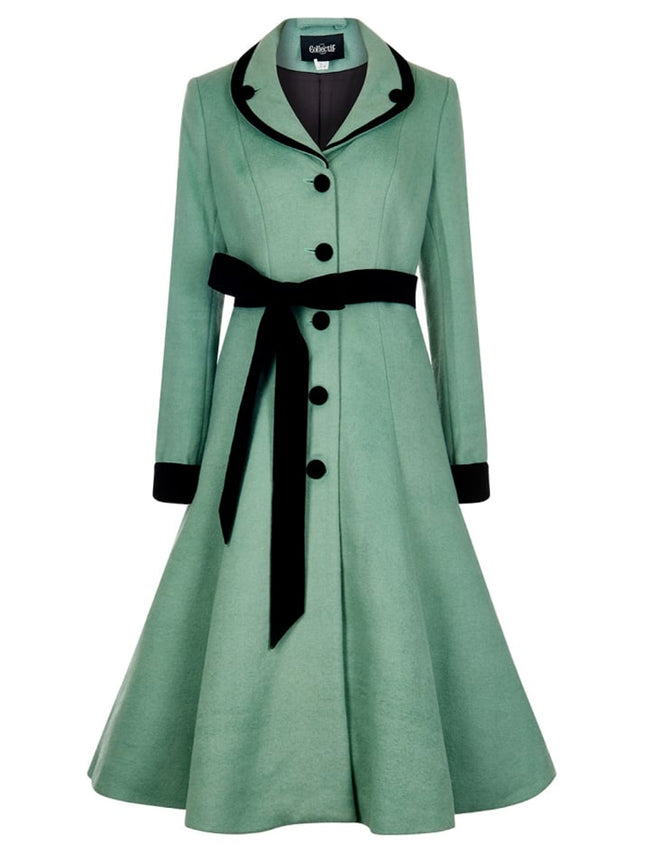 Mint + Black Velvet Princess Coat
