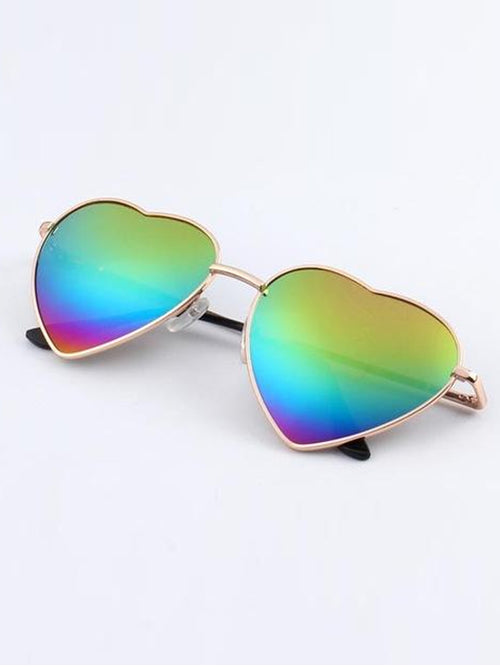 Retro Heart Sunglasses- Gold frame rainbow lens