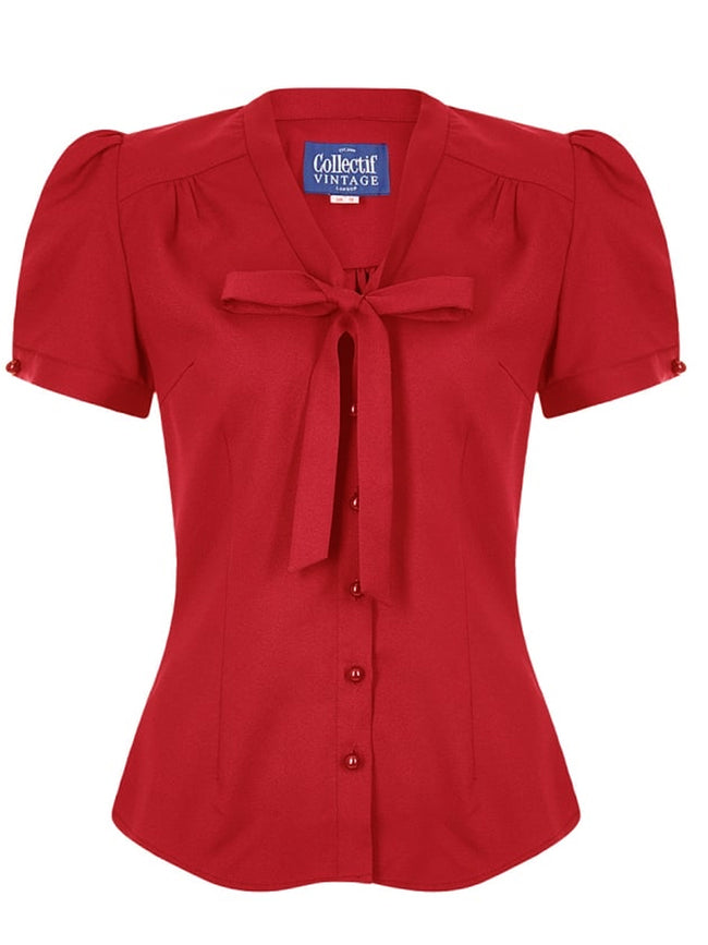Red Button-up Bow Blouse