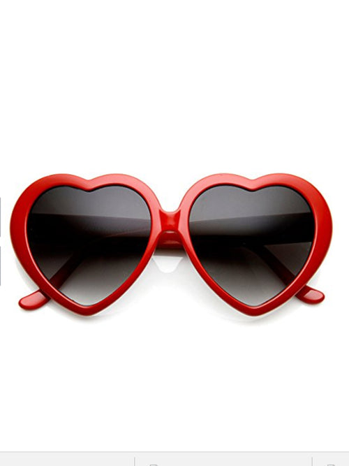 Retro Heart Sunglasses- Cherry Red