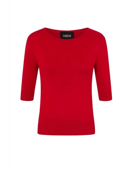 Red Half Sleeve Sweater Top