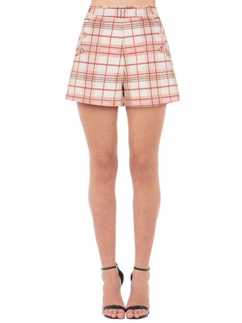 Pink Plaid High-waisted Sailor Shorts