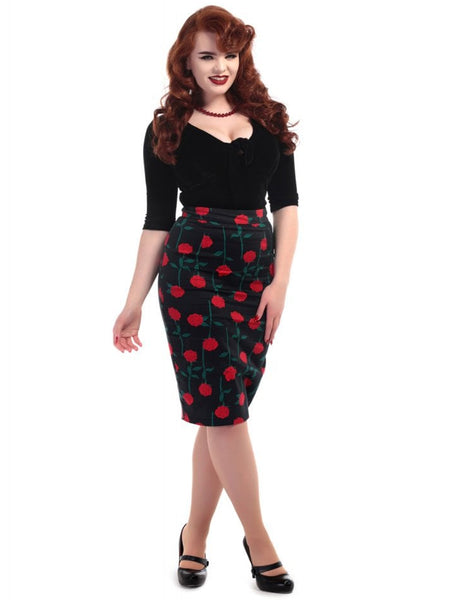 Rose stem pencil skirt