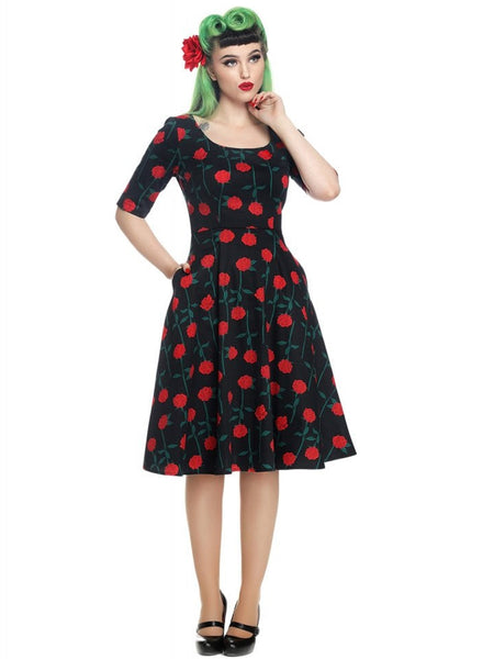Rose stem swing dress with pockets