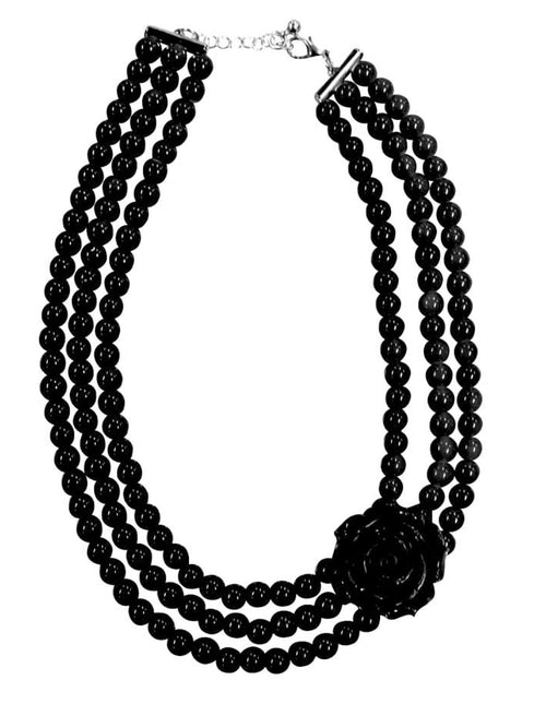 Multi-Strand Rose Necklace (Black)