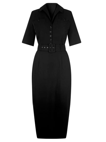 Classic Black Shirt Pencil Dress