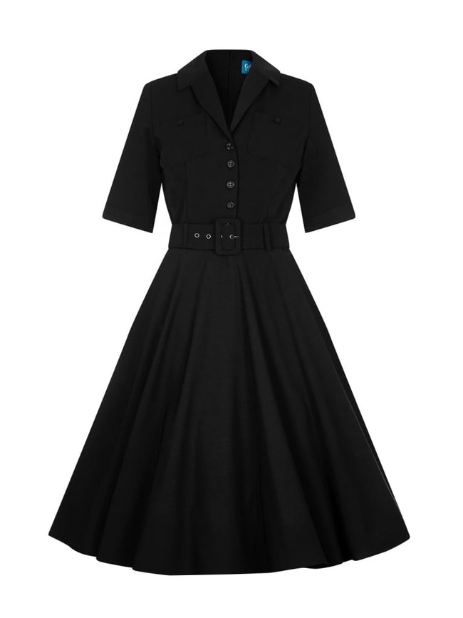 Classic Black Shirt Swing Dress