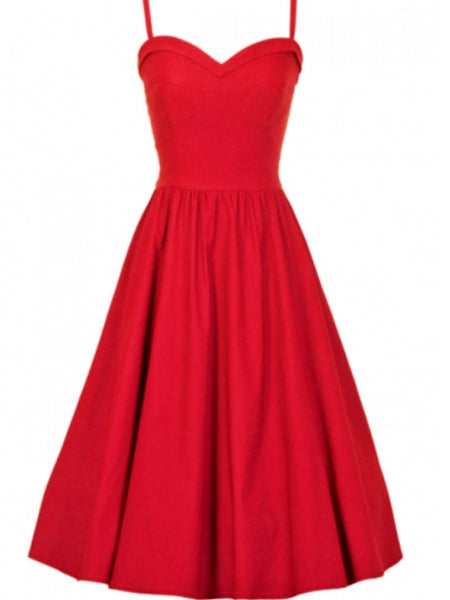Stop Staring Summertime Swing Dress in Solid Red