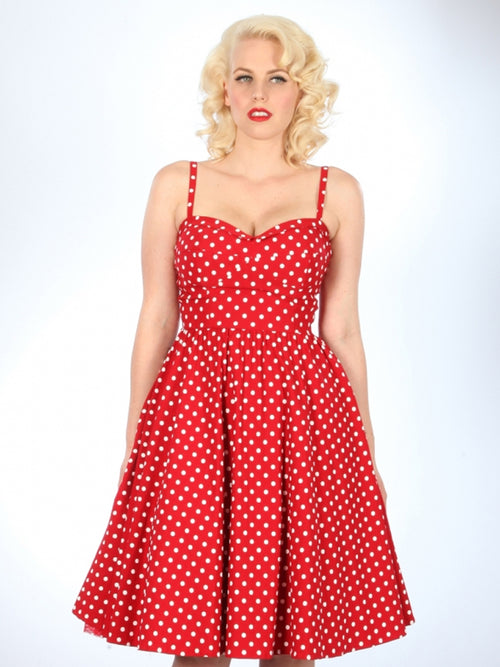 Stop Staring Summertime Swing Dress in Red Polka Dot
