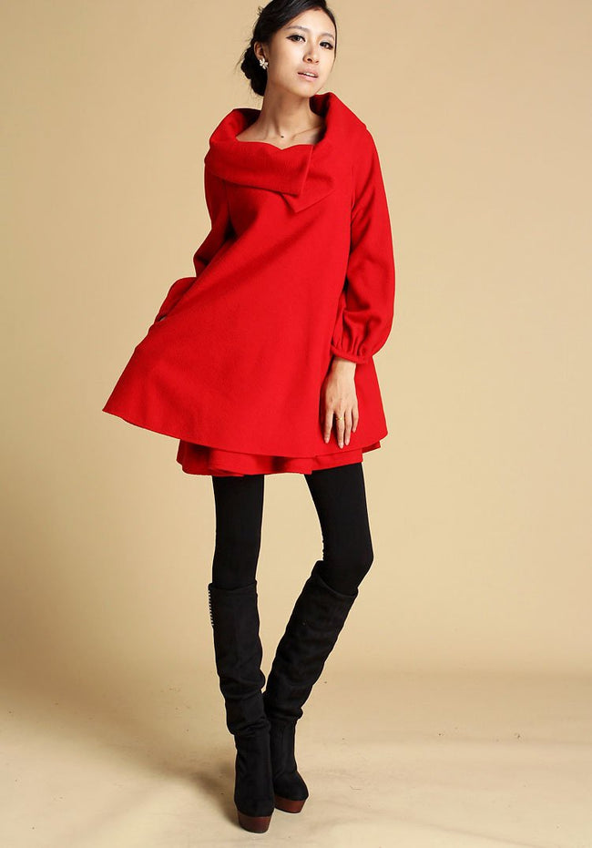 Wool Blend Trapeze Tunic dress in Red