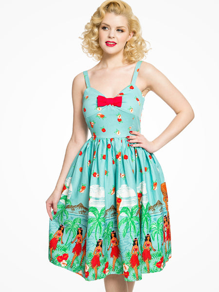 Teal Tiki Swing Dress