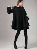 Wool Blend Trapeze Tunic dress in Black