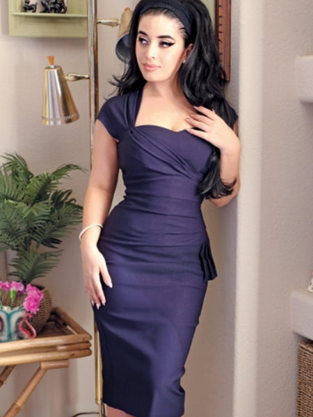 Uma Fitted Pencil Dress-Navy