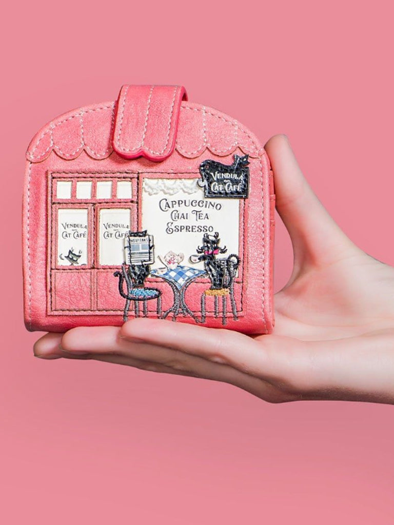 Vendula London Cat Cafe Clipper coin and card wallet