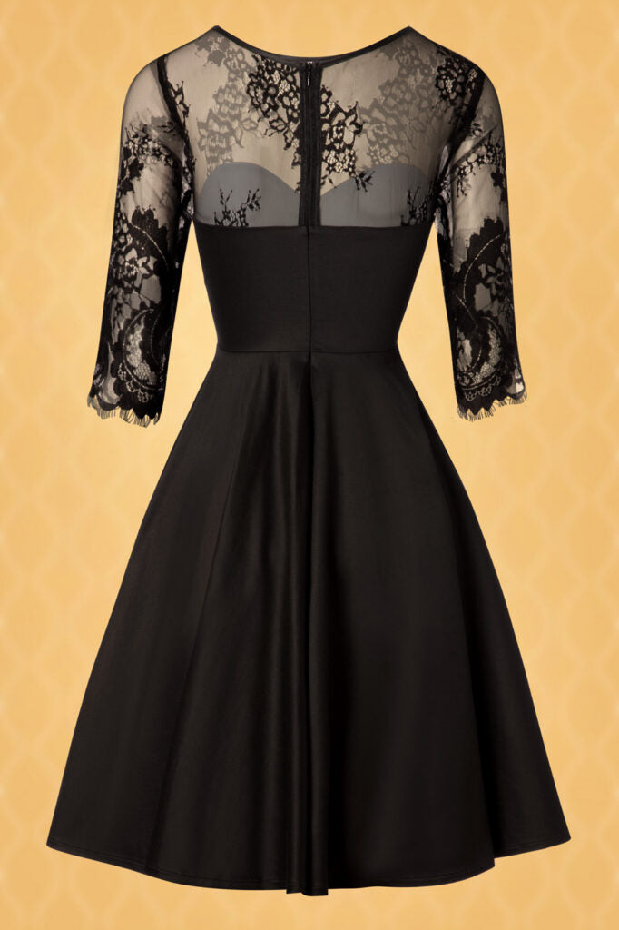 Little Black Lace Swing Dress with pockets