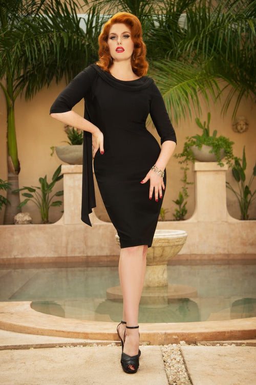 May Little Black Pencil Dress with chiffon sashes