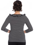 Zsa Zsa Top- Black + White Stripes