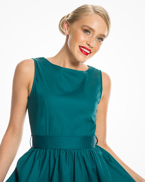 Teal Audrey Swing Dress with Pockets