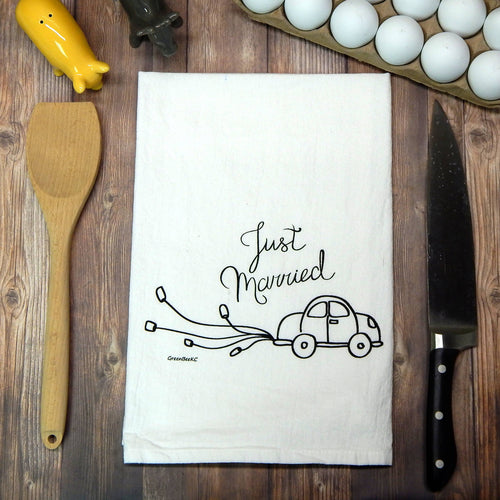 Green Bee Tea Towels - Just Married Wedding Tea Towel