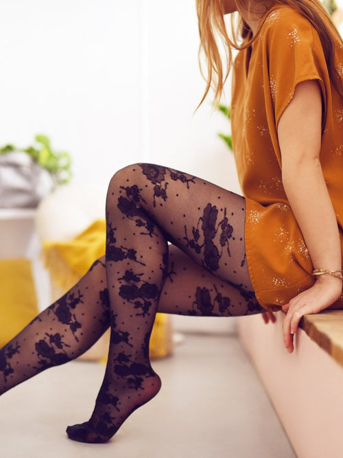Sheer Floral Polka Dot Tights